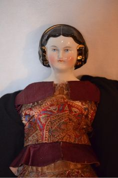 Antique Doll China Head Fancy Hair Style Netted Fab Face Mary Todd Lincoln