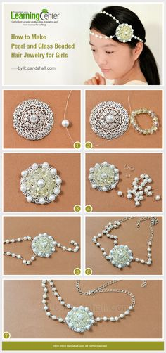 Tutorial on How to Make Pearl and Glass Beaded Hair Jewelry for Girls from LC.Pandahall.com