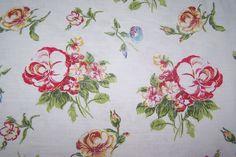 Leinen Reinleinen Deko Blumen Blüten Rosen Landhaus Shabby wollweiß