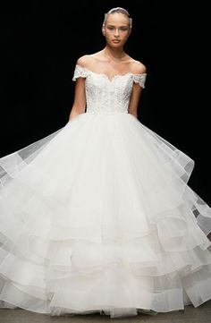 Bateau Princess/Ball Gown Wedding Dress  with Natural Waist in Alencon Lace. Bridal Gown Style Number:32699522 Lazaro