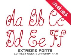 Check out a sneak peak of our new cartridge-Extreme Fonts! Be sure to enter the Extreme Fonts Design Contest as well! (January 16-23)