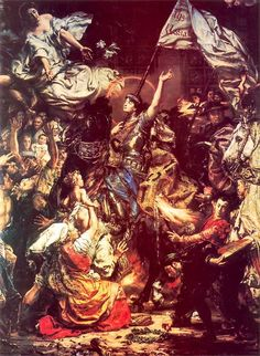"Jan Matejko ""Dziewica Orleańska"" - ""The Maid of Orléans"" [x] [x] [x] Under a… Saint Joan Of Arc, St Joan, Classic Paintings, Great Paintings, Paul Gauguin, Art Database, Romanticism, Les Oeuvres, Maid"