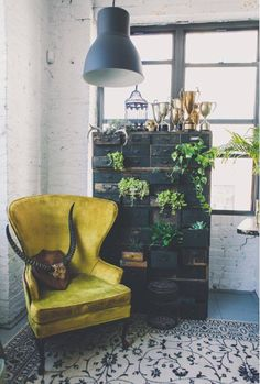 painted brick + vintage chair + card catalogue + plants