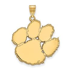 Clemson University Tigers Orange Mascot Logo Disc Pendant in Sterling Silver