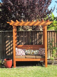 How to build an arbor bench for your garden is part of garden Bench Arbor Make a sturdy, allweather arbor bench for a comfortable seating in your backyard - Garden Arbour Seat, Arbor Bench, Garden Seating, Garden Gate, Diy Pergola, Pergola Shade, Pergola Kits, Pergola Ideas, Arbor Ideas