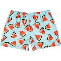 3bf799d3cb727 Aqua watermelon print swim shorts $44.00 Mens Swim Shorts, Mens Sale,  Nightwear, Watermelon