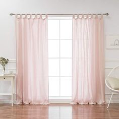 August Grove Kolambe Flax Linen Solid Semi-Sheer Grommet Single Curtain Panel Size: W x L, Color: Pink Pink Sheer Curtains, Tab Top Curtains, Sheer Curtain Panels, Rod Pocket Curtains, Colorful Curtains, Grommet Curtains, Drapes Curtains, Curtain Rods, Layered Curtains