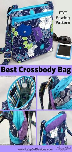 Lazy Girl Designs Lexi pattern carries all you really need and keeps your belongings safe, secure, and tidy. Lazy Girl Designs, Bag Sewing Pattern, Sewing Patterns Free, Quilted Purse Patterns, Bag Patterns To Sew, Small Zipper Pouch, Zipper Bags, Best Crossbody Bags, Tote Bags