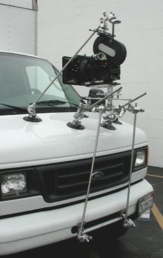 "Filmtools® Four Leg Full-Sized Camera Mount Filmtools. comes with there sets of rods (4 rods per set) 40"" gobo arm and capable of supporting 150 pounds although each suction cup is rated 70lbs you will be driving and adding G-Forces to your rig."