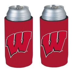 NCAA Ultra Slim Can Holder Cooler 2-Pack (Wisconsin Badgers)