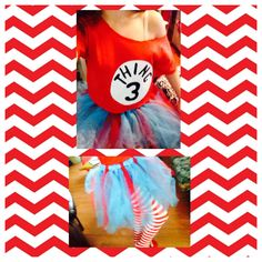 Great idea for a teen girls Halloween costume! The things from Dr.Seuss! Go as a group of 2-7. Buy t-Shirts and cut out the lining, wear red & white stripped tights, and make a tool skirt! Fun! Cute! Easy! Perfect group costume!