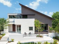 Architecture in Japan Contemporary House Plans, Modern House Plans, Minimalist House Design, Modern House Design, Home Building Design, Building A House, Duplex Design, Japanese House, Facade Architecture