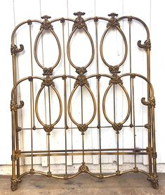 """Our beautiful """"Old Gold"""" finish gives that weathered vintage look of an bed. Antique Iron Beds, Vintage Bed Frame, Iron Headboard, Gold Bed, Brass Bed, Old Room, Multipurpose Room, Fencing, Furnitures"""