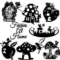 Fairy sterven Cut Out Silhouette 7 x feeën huizen gratis | Etsy