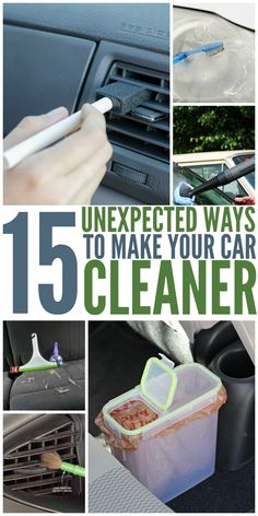 15 Unexpected Ways to Make Your Car Cleaner Whether you are trying to sell your car, or just give it a new car feel, these tricks, tips and DIY ideas will help you make your car look like you just dro Car Cleaning Hacks, Car Hacks, House Cleaning Tips, Diy Cleaning Products, Cleaning Solutions, Spring Cleaning, Jeep Hacks, Hacks Diy, Car Care Products
