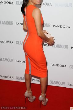 bright orange dress with nude heels