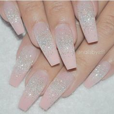 """If you're unfamiliar with nail trends and you hear the words """"coffin nails,"""" what comes to mind? It's not nails with coffins drawn on them. It's long nails with a square tip, and the look has. Fabulous Nails, Gorgeous Nails, Pretty Nails, Bling Nails, Glitter Nails, Gel Nails, Silver Glitter, Coffin Nails, Nail Nail"""