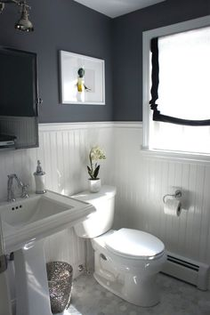 navy bathroom with beadboard - Google Search More