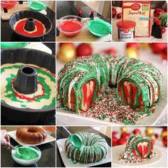 Rainbow Tie Dye Christmas Wreath Bundt Cake