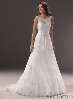 Shalise - Bridal Gown by Maggie Sottero (with satin ribbon adds dainty detail to the waist)