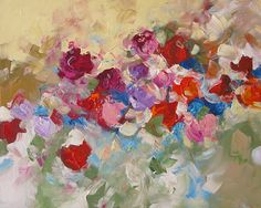 Flower Painting Original Abstract Impressionist Art Floral, Roses, dreamy, surreal, red, pink, violet, canvas 24x30 Dream Garden. $265.00, via Etsy.