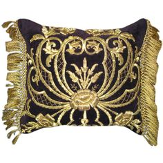 For Sale on 1stdibs - Stunning couched & embroidered gold metallic velvet pillow with gold metallic fringe. This pillow is truely a work of art.