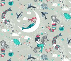Mermaid Lullaby (Aqua   Coral) fabric by nouveau_bohemian on Spoonflower - custom fabric
