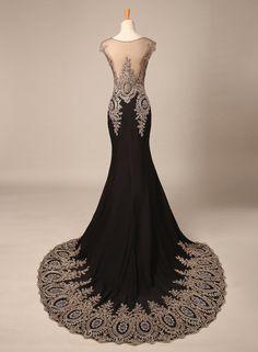 Bridal_Mall Damen Elegant Schwarz Elastisch Abendkleid Lang mit Schleppe Strasssteinen Prom Partykleid