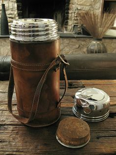 1950's German Made leather cased large Thermos by IronCrowVintage,