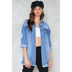 Nasty Gal Oversized Denim Jacket (€77) ❤ liked on Polyvore featuring outerwear, jackets, blue, button down jacket, distressed denim jacket, distressed jacket, denim jacket and oversized jackets