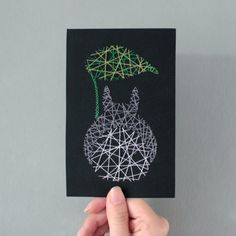 A minimalistic DIY Totoro greeting card created in 3 steps - drawing, etching…