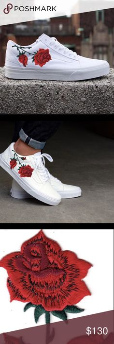4db8b200ac9 Custom Vans Old Skool White Embroidered Rose 😍🌹 customize your own!!  Beautiful sleek