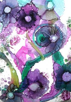 Alcohol Ink Original Art Work Abstract Floral by ThresholdPaperArt