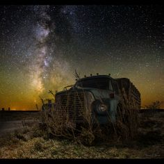 Amazing long exposure photography by Aaron J Groen. He even gives some insights into his process under each image in his portfolio. Click through to see the full portfolio Light Painting Photography, Night Photography, Travel Photography, Exposure Photography, Night Sky Stars, Stars And Moon, Night Skies, Dump Trucks, Old Trucks