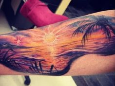 A beautiful sunset on the beach tattoo design. The design clearly shows how amazing and peaceful the beach can be as the sunset light gently bathes the entire area. Sunset Tattoos, Nature Tattoos, Love Tattoos, Unique Tattoos, Beautiful Tattoos, Body Art Tattoos, Beach Tattoos, Artistic Tattoos, Arm Tattoo