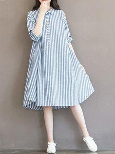 #AdoreWe #NewChic NewChic Casual Women Vertical Striped Drawstring A Line Long Sleeve Loose Dress - AdoreWe.com