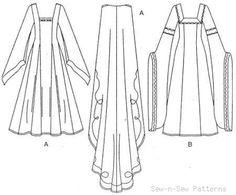 Butterick B3552 UNCUT PATTERN 12-16 LOTR Medieval/Renaissance Dress/Gown/Cape