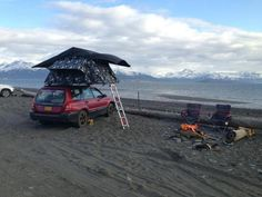 This Tent Topped Forester has a great waterfront campsite. One of the many advantages of being Tent Topped; drive on down to the prefect spot, pop your tent, instant mobile bedroom for the night.