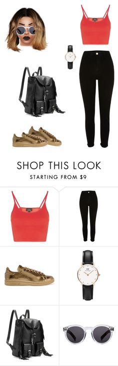 """Untitled #88"" by priscillay5 on Polyvore featuring Topshop, River Island, adidas Originals, Daniel Wellington, Yves Saint Laurent and Illesteva"