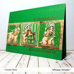 Claudia's Karteria: Weihnachts-Spaniel-Symphony | Christmas Spaniel Sy... Prismacolor, Whimsy Stamps, I Card, Christmas Cards, Happy Faces, Digi Stamps, Stamping Up, Bricolage, Handmade