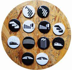 Projekt Localicon na zviditeľnenie architektúry z komunistických čias a nápravu jej mena, toto všetko prostredníctvom odznakov a tričiek, webstránky s videami a fotkami Bratislava, Coasters, Button, Art, Art Background, Coaster, Kunst, Performing Arts, Buttons