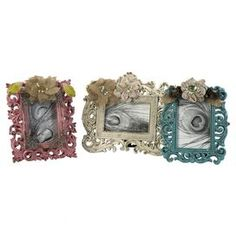 Off Carson Embellished Photo Frames Set of Three by IMAX. @ The Carson photo frames have lace and burlap florals added to pink, teal and cream finishes adding a classy, sassy touch to any treasured memories.