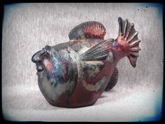 OOAK Raku Fish Face Sculpture FARGO by SmilesUnlimited on Etsy, $165.00