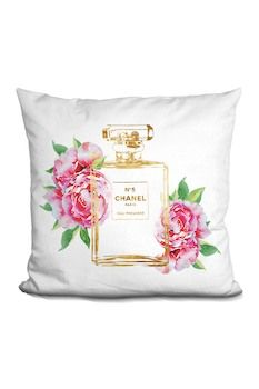 Lilipi Brand Perfume Outline Gold with Peonies Throw Pillow