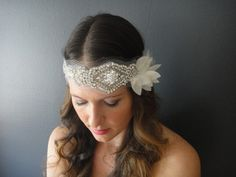 Wedding Headband Bridal Bandeau Bridal by JaimeBridalCouture, $135.00