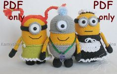 Cute little yellow monsters crocheted amigurumi PDF by jasminetoys, €4.50