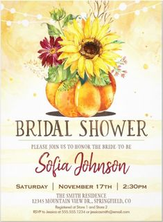 Fall Bridal shower invitation features illustration of Autumn floral arrangement,  pumpkin and sunflower floral. This Halloween themed Invite is a perfect idea for your Bridal Shower or Hen Party with classic modern chic that you can edit and personalize with your own party details. #Hllowedding Rustic Bridal Shower Invitations, Sunflower Wedding Invitations, Minimalist Wedding Invitations, Couples Shower Invitations, Personalised Wedding Invitations, Elegant Invitations, Personalized Wedding, Sunflower Weddings, Bachelorette Invitations
