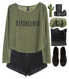 """-"" by emilypondng ❤ liked on Polyvore featuring H&M, Converse and Nikon"
