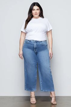 GOOD WAIST PALAZZO CROP | BLUE453 – GOOD AMERICAN International Shopping, Recycled Fabric, Stretch Jeans, Shapewear, Palazzo, Legs, Bermuda Shorts, Cotton, How To Wear