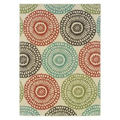 This Indoor/Outdoor Area Rug Beige Colorful Circle Pattern is an overall stylish and chic look that be displayed year-round, It will get instant attention. Made from polypropylene, this rug is great for indoor and outdoor use. Traditional Outdoor Decor, Tropical, Natural Fiber Rugs, Floating, Polypropylene Rugs, Indoor Outdoor Area Rugs, Outdoor Spaces, Outdoor Living, Outdoor Carpet